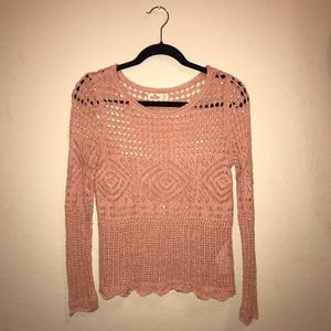 Hollister Loose-Knit Crocheted Pink Sweater